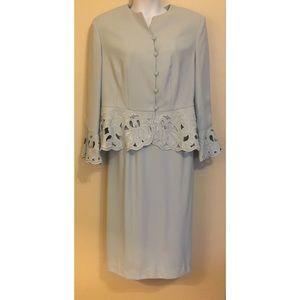 Skirt Suit w/ Scalloped Bell Sleeved Peplum Jacket